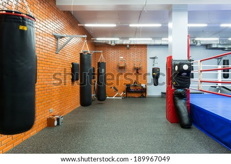 MOSCOW - SEP 17: Empty hall for boxing in the gym on september 17, 2013 in Moscow. Young people in Russia are increasingly visiting gyms.