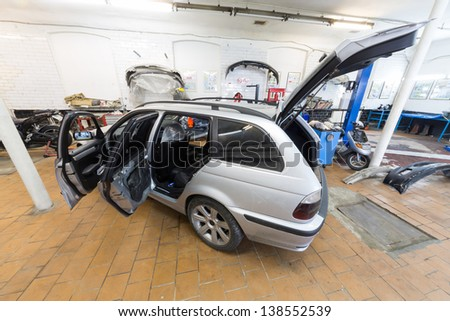 MOSCOW - SEP 21: The car is in the repair on car repair shop Avtostandart on September 21, 2012 in Moscow, Russia.