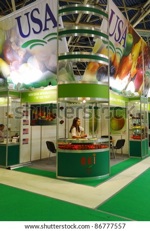 MOSCOW-SEPT. 13: One of the expo booth at American company for wholesale of fruit on the International Food & Drinks Exhibition September 13, 2011 in Moscow, Russia