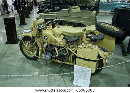 MOSCOW - SEPTEMBER 16: BMW R75 1940 motorcycle at the international .