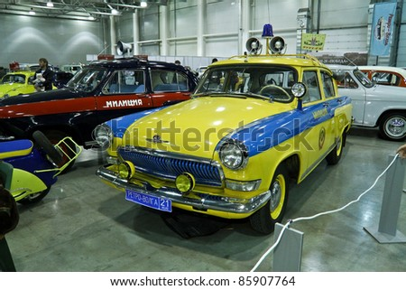 MOSCOW - SEPTEMBER 16: GAZ-21 Volga police car at the international exhibition of the technical antiques on September 16, 2011 in Moscow, Russia