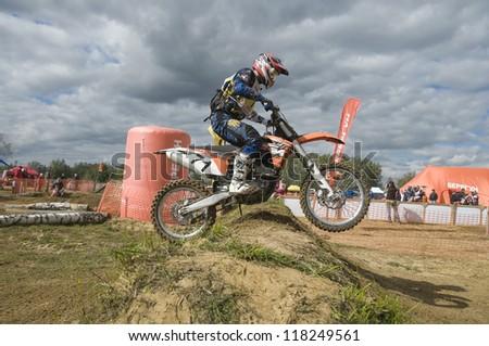 "MOSCOW-SEPTEMBER 8: Kirilchuk Sergei (Endurocross.ru, Dmitrov), Class ""Moto"", in the Stage III Cup XSR-MOTO.RU Cross Country in Moscow, Sheremetyevo, motostadion ""Burtseva""; on September 8, 2012"