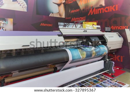 MOSCOW-SEPTEMBER 24, 2015: Large format printers Japanese company Mimaki at the International Trade Fair REKLAMA