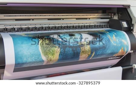 MOSCOW-SEPTEMBER 24, 2015: Large format printers Japanese company Mimaki at the International Trade Fair REKLAMA