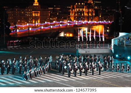 MOSCOW - SEPTEMBER 4: Orchestra of Royal Guard of His Majesty and ceremonial platoon Norway performs at Military Music Festival Spasskaya Tower on September 4, 2011 in Moscow, Russia.