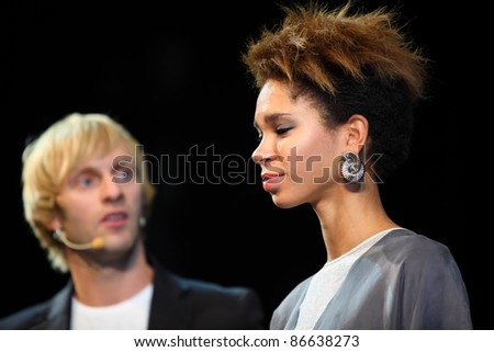 MOSCOW - SEPTEMBER 6: Pavel Sobolev shows model with his hairstyle at Davines Hair Show 2010, on September 6, 2010 in Moscow, Russia.