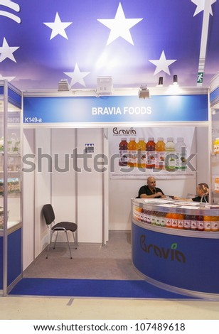 MOSCOW-SEPTEMBER 13: Stand drinks company American BRAVIA FOODS at International Food & Drinks Exhibition on September 13, 2011 in Moscow