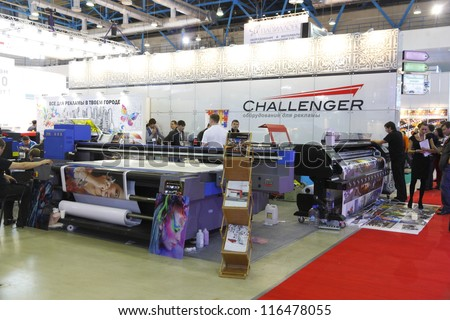 MOSCOW-SEPTEMBER 25: The stand CHALLENGER Russian company on sale of Chinese large format printers at the International Advertising Exhibition on September 25.2012 in Moscow