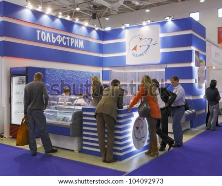 MOSCOW-SEPTEMBER 13: The stand of the Russian company GOLFSTREAM engaged in manufacturing and international trade in seafood at International Food & Drinks Exhibition on September 13, 2011 in Moscow