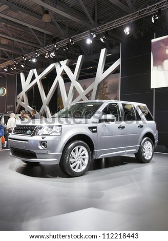 MOSCOW-SEPTEMBER 3:The world premiere of Land Rover Freelander 2 at the Moscow International Motor Show on September 3,2012 in Moscow