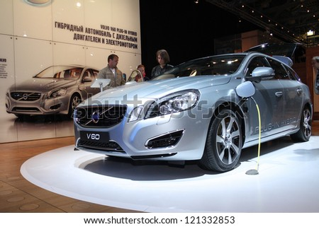 MOSCOW-SEPTEMBER 1: Volvo V60 Plug-in Hybrid at the international exhibition of  the automobile industry Moscow international automobile salon MIAS on September 1, 2012 in Moscow