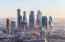 Moscow skyscrapers in the rays of morning sun