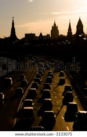 Moscow traffic jam at quay near Kremlin towers, Russia - stock photo