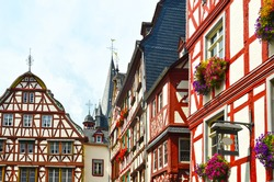 Moselle Valley Germany: View to historic half timbered houses in the old town of Bernkastel-Kues, Europe