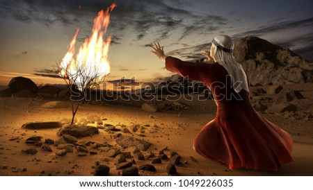 Moses and the burning bush. Story of book of exodus in bible. The shrub was on fire, but was not consumed by the flames. 3D render illustration.