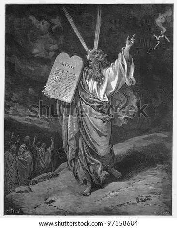 Moses comes down from the mountain with the tablets of Law - Picture from The Holy Scriptures, Old and New Testaments books collection published in 1885, Stuttgart-Germany. Drawings by Gustave Dore. - stock photo