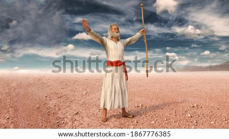 Moses raising his arms and prays to God during the Exodus of Jews from Egypt, 3d render. Stock fotó ©