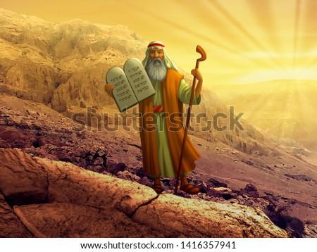 Moses with the Ten Commandments  Stock fotó ©