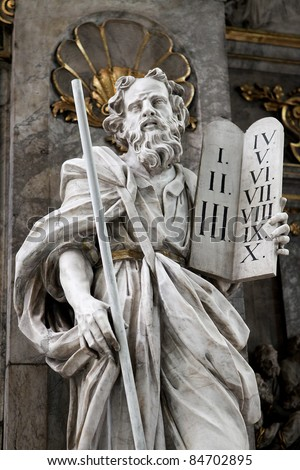 Moses with the Ten Commandments on the Two Stone Tablets. This statue is located in the Martini church in Braunschweig.