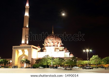 mosque at night with moon