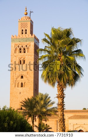 Mosque in Marrakesh (Morocco) - The Koutoubia is the most famous muslim monument of the city. Dated from 1199 under El Mansour