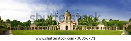 Mosque in Schwetzingen Castle  in German  / Baden-Wuerttemberg. Panorama
