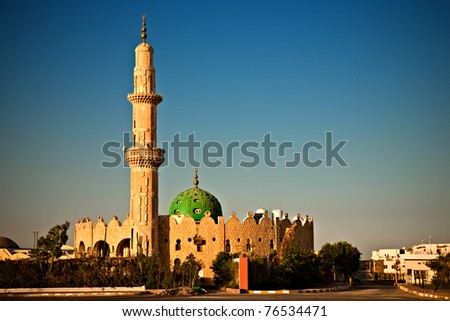 mosque in sunset light, Hurghada, Egypt