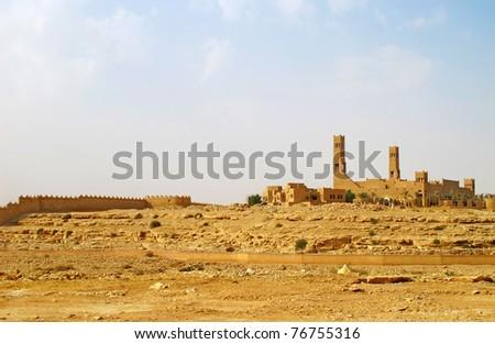 Mosque in the desert near Riyadh city, Saudi Arabia