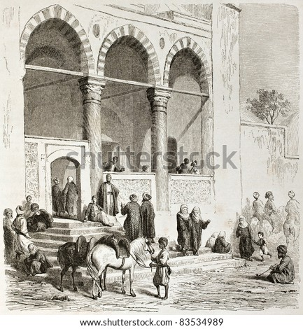 Mosque in Thessaloniki, old view. Created by Girardet after Proust, published on Le Tour du Monde, Paris, 1860