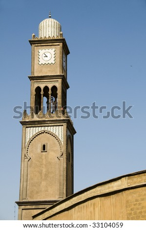 mosque minaret detail of  architecture on blvd. mohammed V by old medina in downtown casablanca morocco