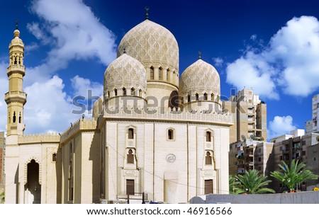 Mosque of Abu El Abbas Masjid, Alexandria, Egypt. Back view.