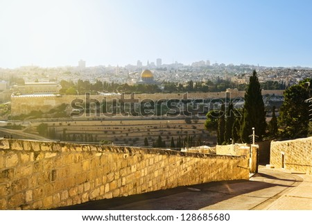 Mosque of Caliph Omar (dome of the rock ) in Jerusalem at sunset. View from the mount of Olives.