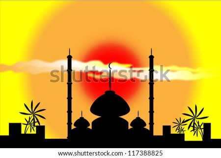 Mosque silhouette at sunset with city and palms on background