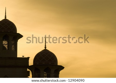mosque silhouette during sunset for background purpose