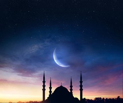 mosque sunset sky, holy and islamic night nad silhouette mosque