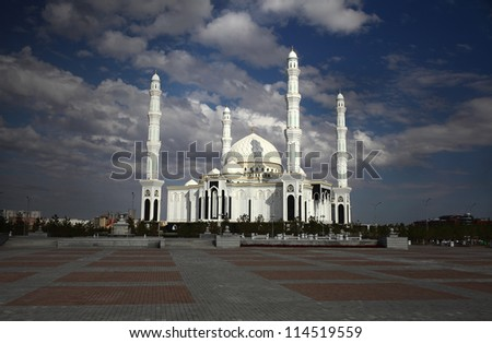 Mosque under dark clouds. Kazakhstan. Astana.