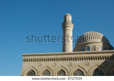 Mosque with one minaret in Baku, Azerbaijan