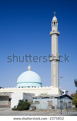 mosque with one minaret in Hurgada, Egypt. solar day