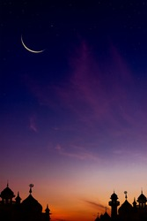 Mosques Dome on dark blue twilight sky Vertical and Crescent Moon on background, symbol islamic religion Ramadan and free space for text arabic, Eid al-Adha, Eid al-fitr
