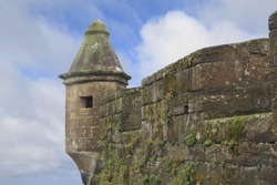 Moss Covered Walls and Tower of the Medieval Fort in Horta, Portugal, Azores
