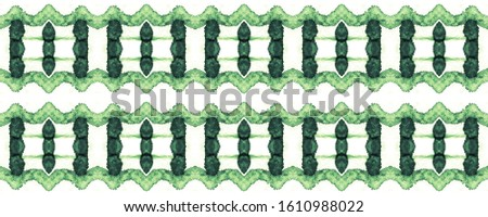 Moss Endless Tile. Endless Tracery Motif. Sea Green Tribal Template.  White and Green Stains. Exotic Trendy Decor. Monochrome Watercolor Illustration.