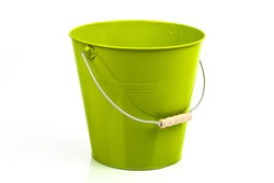 Moss green iron/metal bucket/pail/container with handle isolated on white background. Colorful kid child toys. Garden equipment.