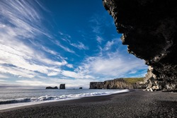 Most beautiful black sands beach of Vik in Iceland