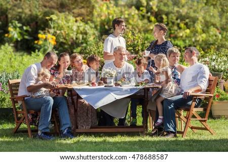 Most beautiful happy family in garden, portrait of three generations, outdoor Stok fotoğraf ©