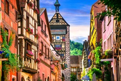 Most beautiful villages of France - Riquewihr in Alsace. Famous vine route and tourist