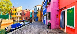 Most colorful traditional fishing town (village) Burano - Island near of Venice. Italy travel and landmarks