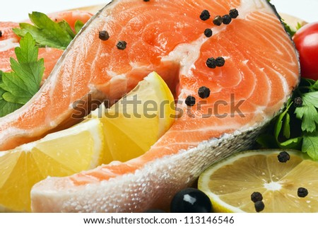 most delicious fresh salmon steak with lemon and spices