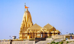 Most famous Indian God Temple named Somnath Mahadev Temple at Somnath, Gujarat, India. Temple of lord Shiva.