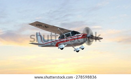 most popular single propeller light aircraft fly in the sunset