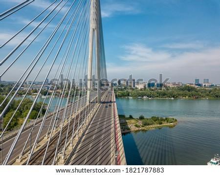 Most recent 'Most na Adi' - literally Bridge over Ada / river island in Belgrade, Serbia; bridge is connecting Europe mainland with Balkans over river Sava Stock fotó ©